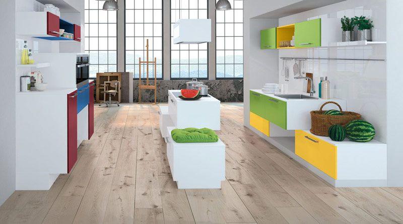 Bodengestaltung Holz. Bild: Beckermann Küchen